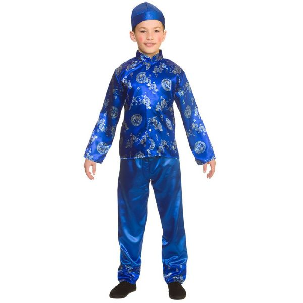 Boys Chinese Boy Costume for Oriental Coolie Asian Thai Fancy Dress